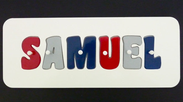 Personalised Name Puzzle - Red, Grey and Navy - Mikki & Me Kids
