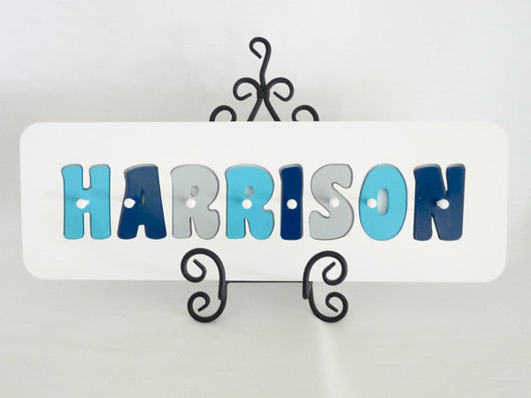 Personalised Name Puzzle - Aqua, Grey and Navy - Mikki & Me Kids