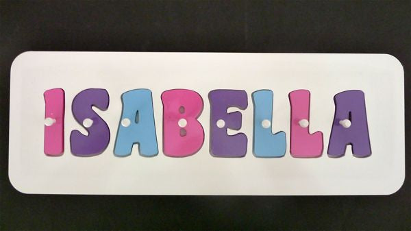 Personalised Name Puzzle - Pink, Purple and Sky Blue - Mikki & Me Kids
