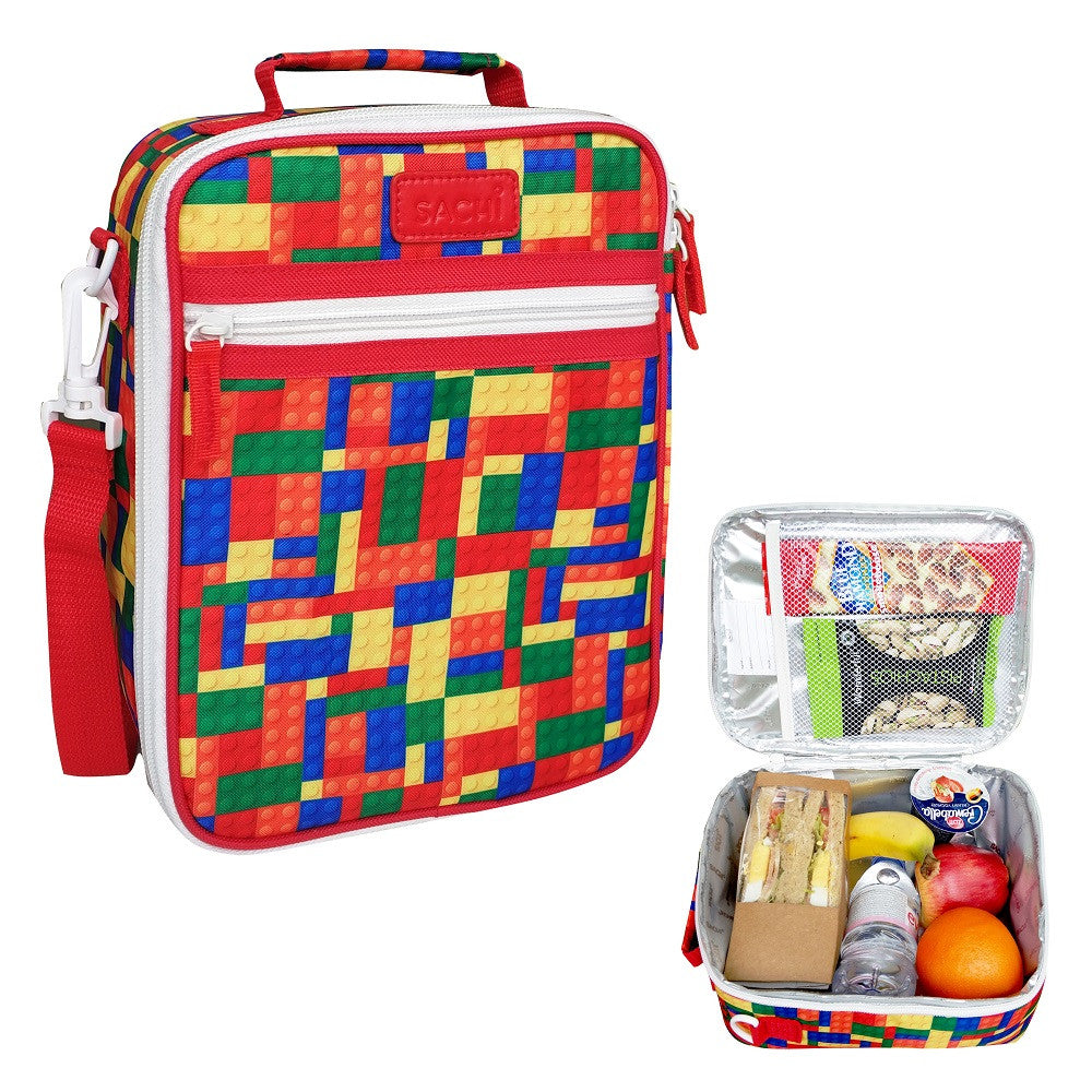 Sachi Insulated Junior Lunch Tote - Bricks - Mikki & Me Kids