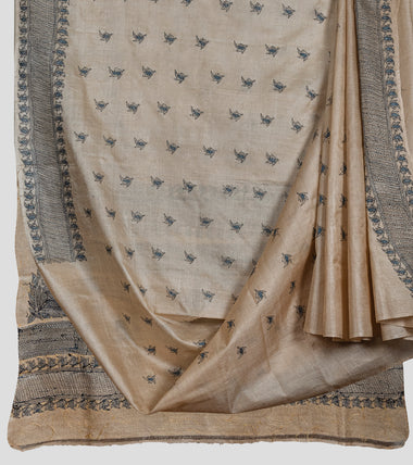 Beige Blue N Black Gacchi Tussar Kantha Saree-Body