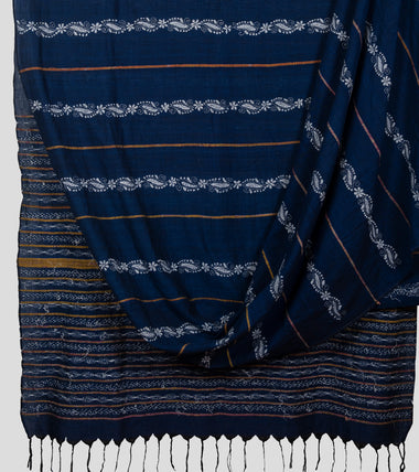 Blue Khesh Kantha Saree-Body