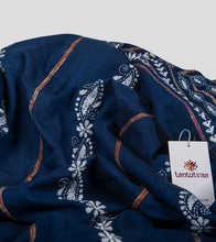 Load image into Gallery viewer, Blue Khesh Kantha Saree-Detail