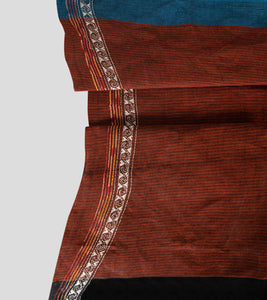 Brown Missing Weave Khesh Kantha Saree-Blouse Piece