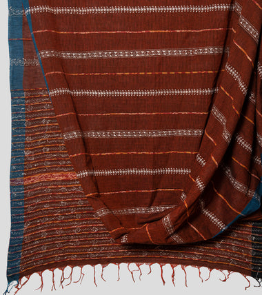 Brown Missing Weave Khesh Kantha Saree-Body