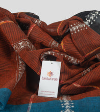 Load image into Gallery viewer, Brown Missing Weave Khesh Kantha Saree-Detail