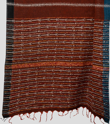 Load image into Gallery viewer, Brown Missing Weave Khesh Kantha Saree-Pallu