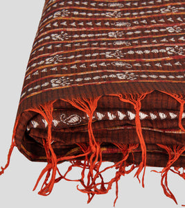 Brown Missing Weave Khesh Kantha Saree-Tassel