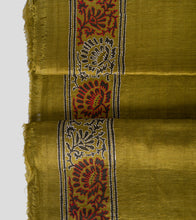 Load image into Gallery viewer, Fuel Yellow N Green Block Print Tussar Kantha Saree-Blouse Piece
