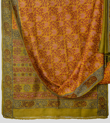 Fuel Yellow N Green Block Print Tussar Kantha Saree-Body