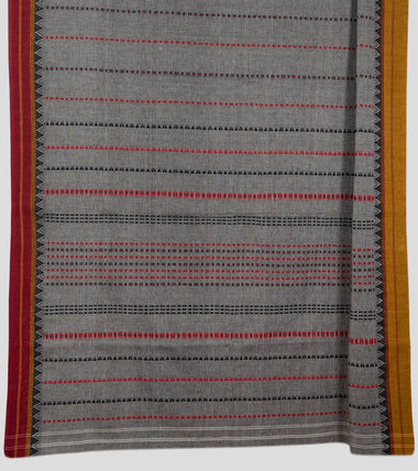 Load image into Gallery viewer, Grey Begumpuri Cotton Saree-Pallu