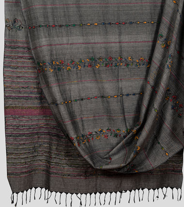 Grey Multicolour Khesh Kantha Saree-Body