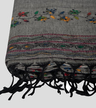 Load image into Gallery viewer, Grey Multicolour Khesh Kantha Saree-Tassel