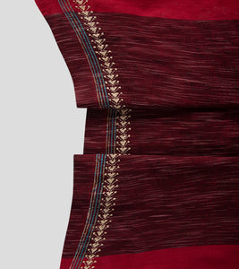 Maroon Jharna Khesh Kantha Saree-Blouse Piece