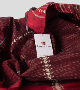 Maroon Jharna Khesh Kantha Saree-Detail