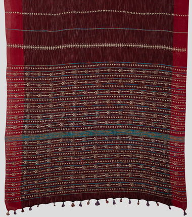 Load image into Gallery viewer, Maroon Jharna Khesh Kantha Saree-Pallu