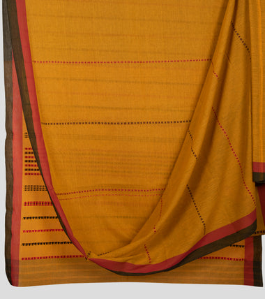 Mustard Begumpuri Cotton Saree-Body