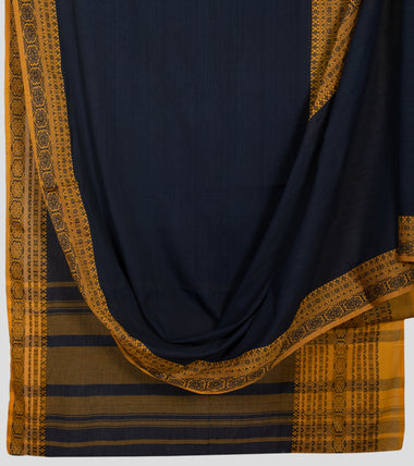 Navy Blue Begumpuri Khadi Cotton Saree-Body