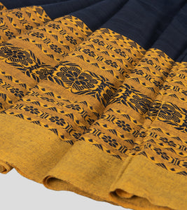 Navy Blue Begumpuri Khadi Cotton Saree-Border