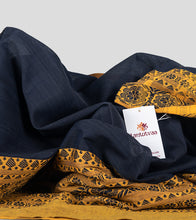 Load image into Gallery viewer, Navy Blue Begumpuri Khadi Cotton Saree-Detail