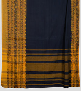 Navy Blue Begumpuri Khadi Cotton Saree-Pallu