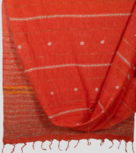 Load image into Gallery viewer, Orange Jharna Khesh Kantha Saree-Body