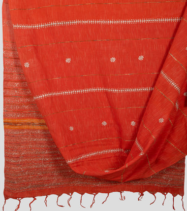 Orange Jharna Khesh Kantha Saree-Body