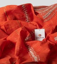 Load image into Gallery viewer, Orange Jharna Khesh Kantha Saree-Detail