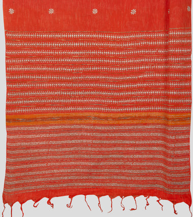 Load image into Gallery viewer, Orange Jharna Khesh Kantha Saree-Pallu