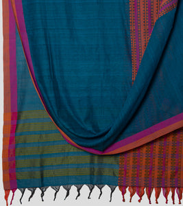 Peacock Blue Begumpuri Khadi Cotton Saree-Body