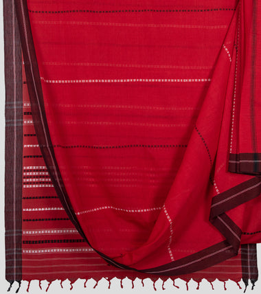 Red Begumpuri Cotton Saree-Body