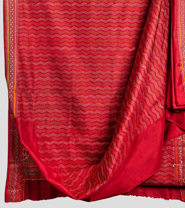 Red Multicolour Bangalore Silk Kantha Saree-Body