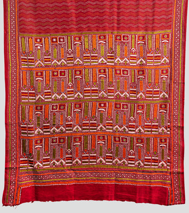 Load image into Gallery viewer, Red Multicolour Bangalore Silk Kantha Saree-Pallu