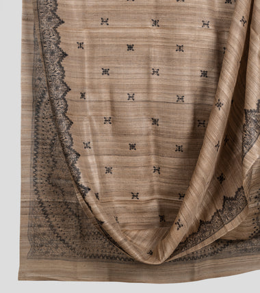 Raw Madhubani Pure Ghicha Tussar Silk Saree-Body