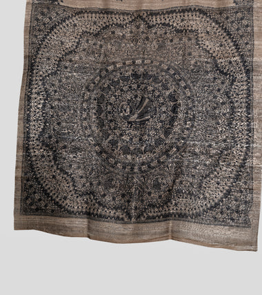 Load image into Gallery viewer, Raw Madhubani Pure Ghicha Tussar Silk Saree-Pallu