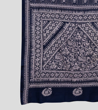 Load image into Gallery viewer, Navy Blue N White Bangalore Silk Kantha Saree-Pallu Detail