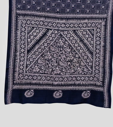 Load image into Gallery viewer, Navy Blue N White Bangalore Silk Kantha Saree-Pallu