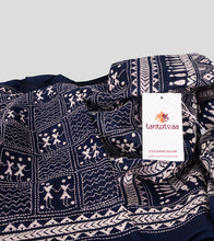 Load image into Gallery viewer, Navy Blue N White Bangalore Silk Kantha Saree-Detail