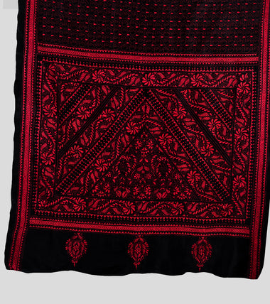 Load image into Gallery viewer, Black N Red Banaglore Silk Kantha Saree-Pallu