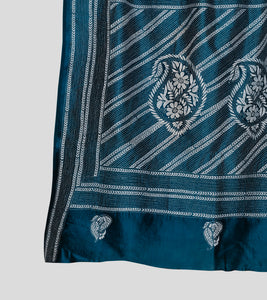 Blue N White Bangalore Silk Kantha Saree-Pallu Detail