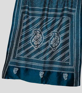 Blue N White Bangalore Silk Kantha Saree-Pallu
