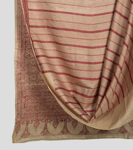 Beige N Red Gacchi Tussar Kantha Saree-Body