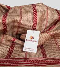 Load image into Gallery viewer, Beige N Red Gacchi Tussar Kantha Saree-Detail