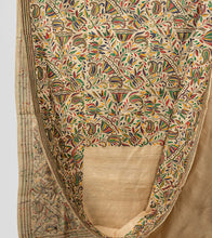 Load image into Gallery viewer, Cream Multicolor Gacchi Tussar Nakshi Kantha Saree-Body