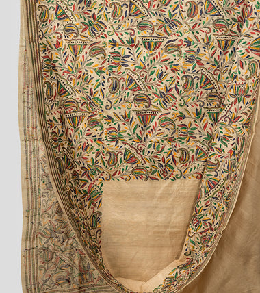 Cream Multicolor Gacchi Tussar Nakshi Kantha Saree-Body