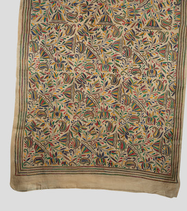 Load image into Gallery viewer, Cream Multicolor Gacchi Tussar Nakshi Kantha Saree-Pallu