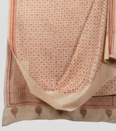 Beige N Orange Tussar Kantha Saree-Body