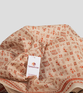 Beige N Orange Tussar Kantha Saree-Detail