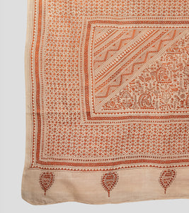 Beige N Orange Tussar Kantha Saree-Pallu Detail