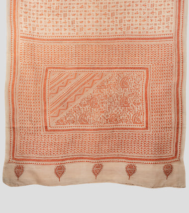 Load image into Gallery viewer, Beige N Orange Tussar Kantha Saree-Pallu